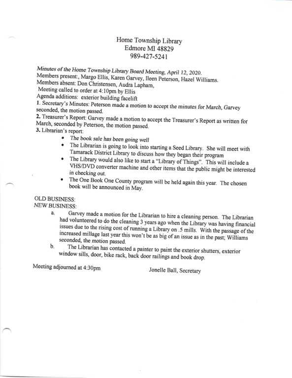 April Library Board Minutes