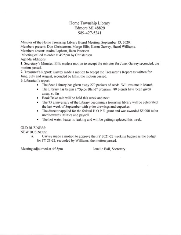 September Library Board Minutes